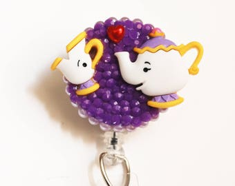 Beauty And The Beast's Mrs. Potts And Chip ID Badge Reel - Retractable ID Badge Holder - Zipperedheart
