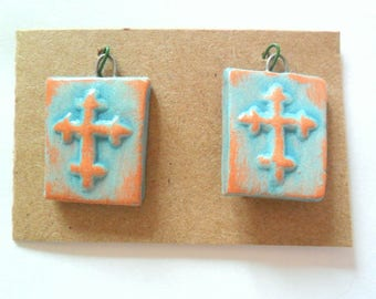 Distressed Turquoise Glazed Terra Cotta Cross Bead Charm Findings Pair