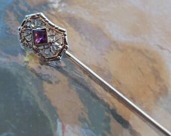 Antique Art Deco 10k white gold filigree square cut purple amethyst stick pin / stickpin / lapel pin / tie pin / tie tack / brooch