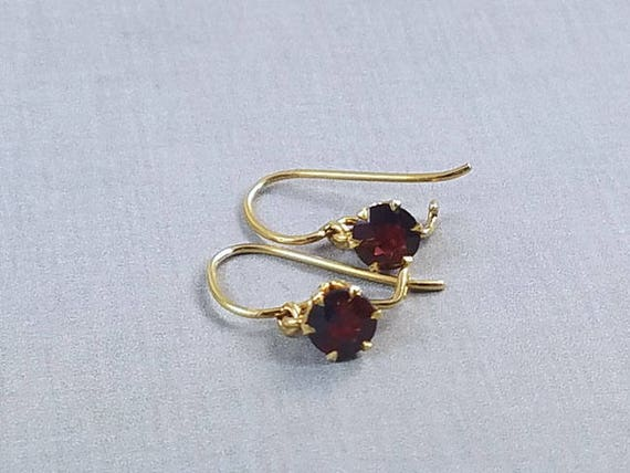 Antique Victorian 14k gold garnet solitaire dangle pierced earrings