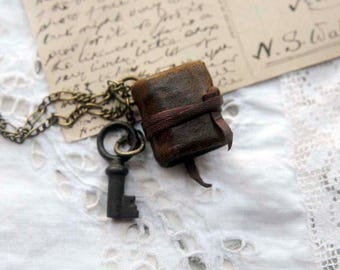 The Key to Your Thoughts - Miniature Wearable Book, Brown Recycled Leather, Tiny Old Key, Aged Paper - OOAK