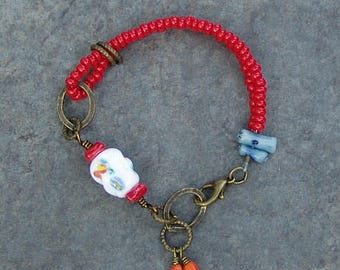 Coral Reef - Red Bead and Antique Brass Bracelet