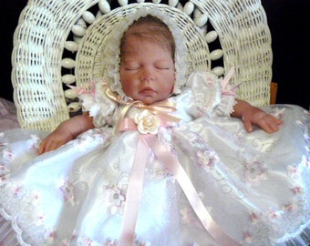 DRESS for REBORN Doll or BABY White Organza Pink Floral Embroidery size 0.3 month