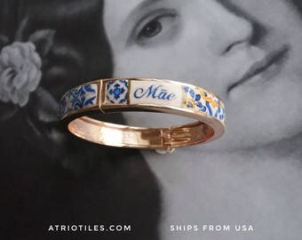 Mãe Mother BRACEleT - Mother's Day Portugal Antique 17th century Azulejo Tile Replicas - Blue Gold-  Ericeira PRE-ORDER