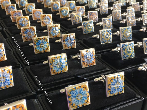 Cuff Links Silver 925 Portugal Azulejo Tile Antique 17th Century Gold Blue - Tomar - Convent of Christ built in 1160  - Gift Box Included