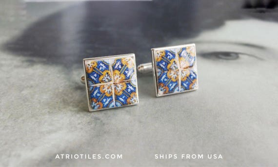 "925 Silver CUFF LINKS Portugal Tile Azulejo Blue Gold 17th Century  Antique Tile Replica Cufflinks ""Italo-Flemish"" - Gift Box Included 357"