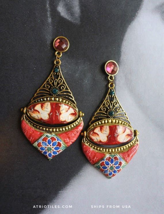Earrings Portugal  Tile Azulejo Antique RED Mosaic ,  Sintra Dove Frescoes from the National Palace Chapel Persian