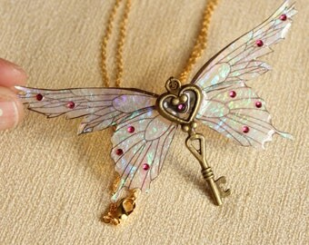 Shimmery Pink Fairy Wing Key Pendant Necklace dragonfly moth butterfly fairywings magical winged flying iridescent whimsical fantasy jewelry