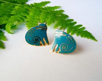 Laurel Burch Keshire Cat Enamel Earrings, Teal Blue, Clip Ons