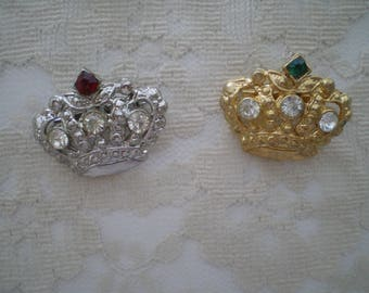 Two Crown Rhinestone and Metal Brooches 1960s
