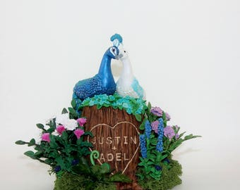 Elegant Peacock Wedding Cake Topper Custom Tree Stump Keepsake