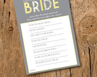 10% Sale INSTANT UPLOAD - Bridal Shower Game - Here Comes The Bride - Floral Yellow and Gray Wedding Shower Game, Bride Game, Bridal Shower