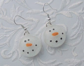 Snowman Earrings - Dichroic Fused Glass - Christmas Ornament - Christmas Jewelry - Frosty Earrings -  Christmas Earrings - Snowman 2885