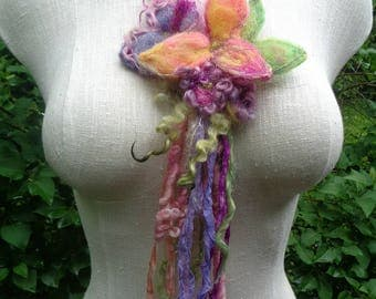 crystal fairy pouch necklace - needle felted leaf flower fairy pouch from the enchanted forest