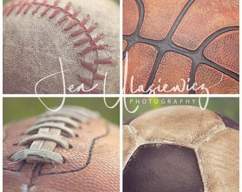 Set of 4 Vintage Sports Balls in Grass 8x8 Fine Art Photography Prints, macro, man cave, boys room, nursery, still life