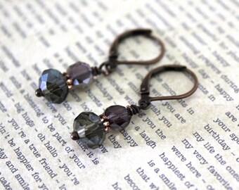 Crystal Earrings, Dangle Earrings, Stacked Earrings, Lightweight Earrings, Copper Earrings, Purple Gray Earrings, Elegant Jewelry, Gift Idea