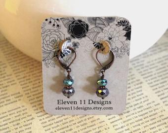 Crystal Earrings, Dangle Earrings, Stacked Earrings, Lightweight Earrings, Copper Earrings, Purple Teal Earrings, Elegant Jewelry, Gift Idea