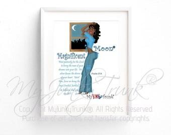 Magnificent Moon- African American Black Woman Art Print