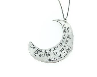 crescent moon necklace . silver inspirational quote necklace . long statement necklace . sterling silver waxing moon necklace