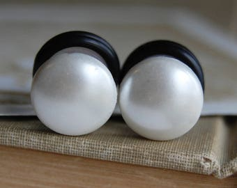 Round Faux Peal Plugs for stretched lobes. Choose Size |0g (8mm) | 00g (10mm) | Half Inch (12mm)| Wedding Plugs