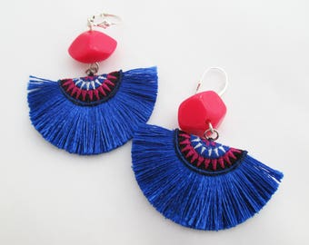 Royal Blue Fan Tassel Half Moon Earrings with Pink, Black and Blue Hmong Embroidery and Pink Accent Bead