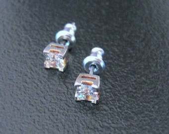 CUBIC ZIRCONIA STUDS in  Square Setting Silver plated