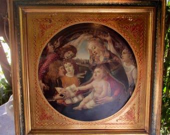 Rare Vittorio Alinari Replica Madonna of the Magnificat on Gold Gilded Wood