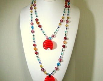 Fun Red Party Color Necklace, By ME, Recycled Ecochic Lucite Plastic Pendants, 70s Rainbow Glass Chain, OOAK by Rachelle Starr