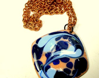 1960s Blue Enamel on Copper Pendant and Chain, Marbelized, Handmade Swirl, From West Country