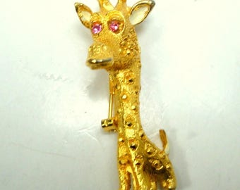 Funny Baby Giraffe Brooch, Pink Rhinestone Eyes, Gold w white Enamel Ears, LONG Neck, Unused Pin 1980s Quirky African Critter Pin