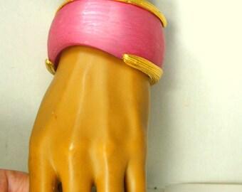 Bracelet, Gorgeous Pink and Gold LUCITE Bangle , Satin Finished w Matte Gold, Asymmetrical Elegant Shape