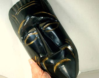 African Wood MASK, Painted Black w Gold Wood Carved Design, 1990s, Wall Sculpture,   Ethnic Tribal Art