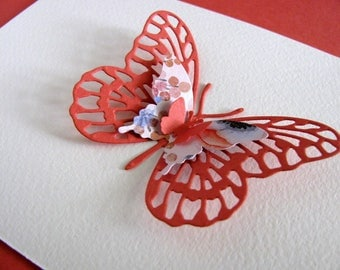 3 Layered Butterfly on Ivory Watercolour Paper Card with Coral & Floral Butterflies Shown or YOUR Color Choices for Butterfly / A2 Size
