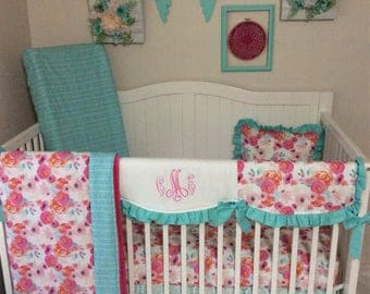 Baby Girl Crib Bedding Coral Peach Pink Aqua Mint Teal Floral Watercolor Lace Skirt Monogrammed