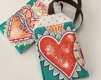 Luggage Tag Set with Hearts, Luggage tags, luggage tag holders, bag tags, Backpack Tag, Stroller Tag, Gift under 10, Gift for Woman, Tattoo
