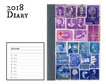 Purple Teal Recycled Diary Notebook, 2018 Agenda - New Year Gift