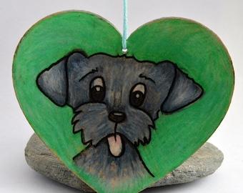 WOODEN Heart hanging decoration, Grey Dog