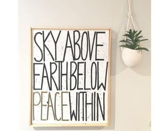 Sky Above Earth Peace - Hand painted Canvas - bedroom painting decor home house dwell wall hanging decoration black white paint art work