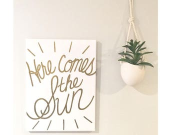 Here Comes The Sun - Hand painted Canvas - bedroom painting decor home house dwell wall hanging decoration black gold paint art work