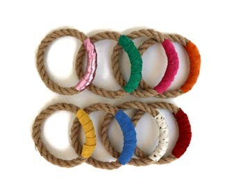 Rope Bangle and Leather Bracelets in Bright Colors Set of 2. Boho Bangle Bracelet Set. Boho Chic Stackable Bracelets. Unique Gift for Her