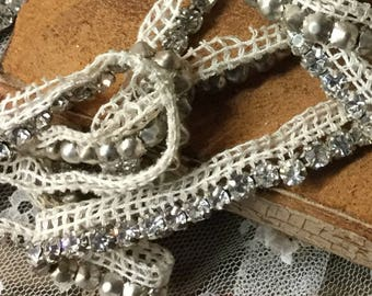 Two Pieces Vintage Clear Rhinestone on Mesh Trim Sewing Supplies 28 Inches 24 Inches Total 4 Feet 4 Inches Dressmaking Ecru Mesh Prong Set