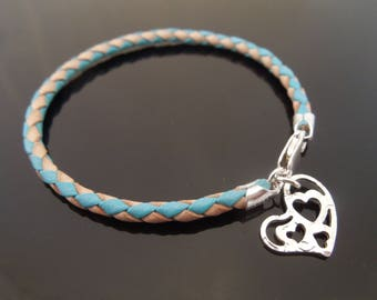 3mm Turquoise & Natural Braided Leather Bracelet With 925 Sterling Silver Hammered Heart Charm