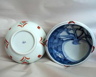 Vintage Japanese Kutani Hizen Ware Ceramic Bowls Blue White Turnip