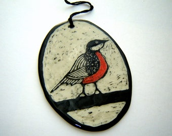 Red Robin Ornament – sgraffito pottery – Black and White – Fine Art Ceramics - Gift for Bird Lover – Home Décor – painted bird