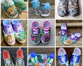 "Design Your Own - CUSTOM ORDER - Handpainted Lace Up or Generic ""Tom"" Style Canvas Shoes by NC Portrait Artist"