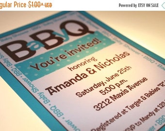 SALE Baby BBQ Shower Invitations for Boy or Girl