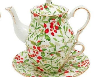 Gracie Teaware China Tea-For-One Christmas Holly Berry Vine 2c Teapot Cup Saucer