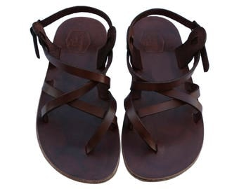 CLEARANCE SALE - Dark Brown Triple Leather Sandals - All Leather Sole  - Euro # 43 - Handmade Unisex Sandals, Genuine Leather, Sale