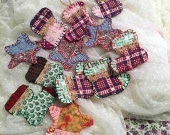 Primitive Fabric Appliques, 4 Stars, 8 Christmas Stockings, Hand Cut from Old Quilt, Recycled Quilt Block, Scrapbooking or Any Craft Supply