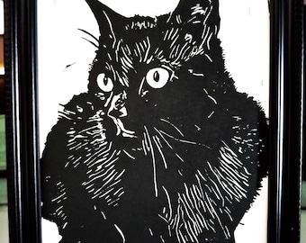 Black Cat - Original Handcrafted Linoleum Cut Print by Philip Crow